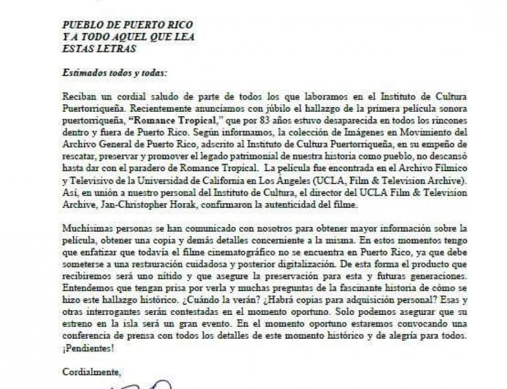 """Comunicado del ICP sobre la película """"Romance Tropical"""""""
