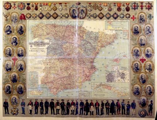 Mapa ilustrado de España y sus posesiones, incluyendo a Puerto Rico (1895)