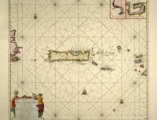 Pas kaart van t eyland S. Iuan de Porto Rico, met d eylanden daar beoosten (1712)
