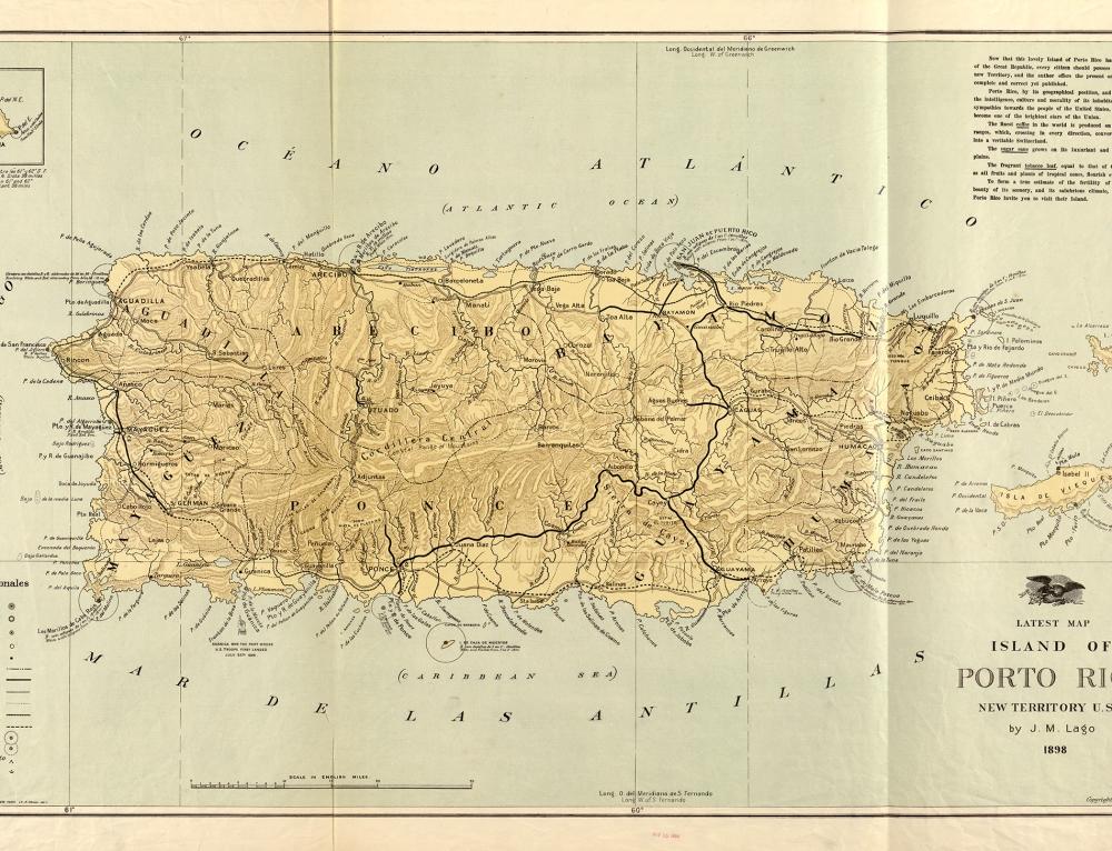 Latest map of island of Porto Rico, new territory U.S.A. (1898)