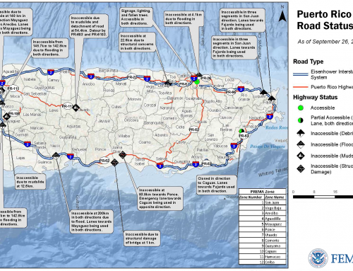 Puerto Rico Road Status as of September 28, 2017