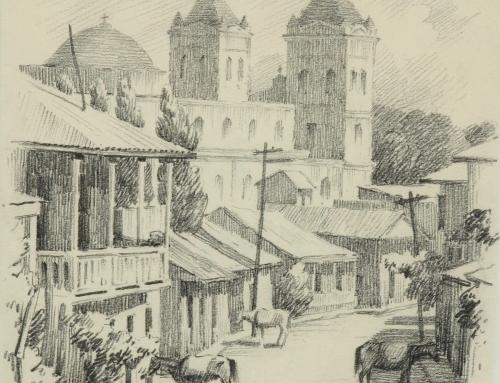 Paisaje urbano de Aibonito (1946) por Miguel Pou Becerra