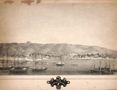 Vista de la playa de Mayagüez (entre 1850 y 1870)