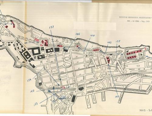 Mapa y fotos de edificios obstruyendo las fortificaciones del Viejo San Juan (1951)