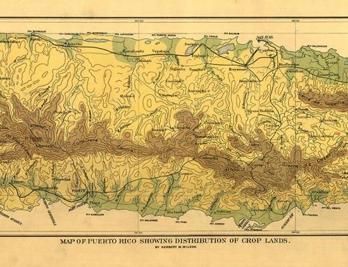 Mapa de distribución de cultivos en Puerto Rico (1899)