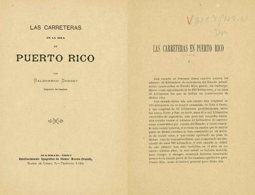 """""""Las carreteras en la isla de Puerto Rico"""" por Baldomero Donnet (1897)"""