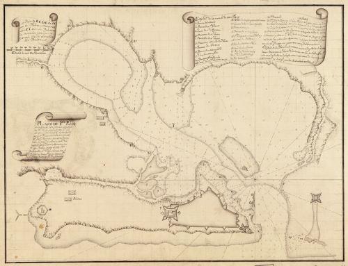"""Mapa titulado """"Plano de Pto. Rico en la ysla de este nombre"""" (1780)"""